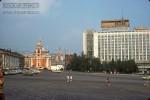 Jacques Dupaquier. Вид на церкви на улице Варварка и гостиницу Россия от Васильевского спуска. 1975