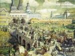 Васнецов А.М. Уличное движение на Воскресенском мосту в XVIII веке. 1926