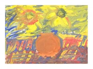 Сидельникова Дарья (Дася). Подсолнухи. Бумага, гуашь. 29 × 42. 2011