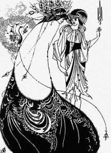Обри Винсент Бёрдслей (Aubrey Vincent Beardsley). «Павлинья юбка» (иллюстрация к «Саломее» О. Уайльда). Рисунок тушью. 1894.