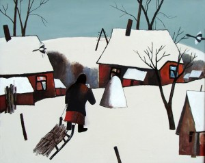 Алексей Новиков. Зима в деревне Крутой Верх. Холст масло. 90 Х 110 см. 1991