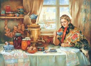 Нестеренко Василий Игоревич. «Конфетки, бараночки...» Холст, масло, 150х220, 1997