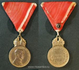 Австро-Венгрия. Бронзовая Медаль Военных Заслуг на Ленте Креста Военных Заслуг (Bronzene Militärverdienstmedaille am Bande des Militärverdienstkreuzes). 1917-1918 годы (Первая Мировая война).