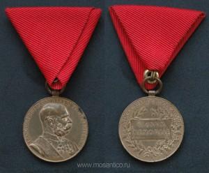 Австро-Венгрия. Медаль «В память 50-летия правления Франца-Иосифа» на ленте для награждения военнослужащих. 1898 год.