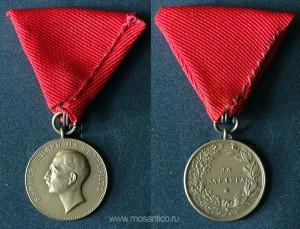 Болгария. Бронзовая медаль «За заслуги» на гражданской ленте (ордена «Святого Александра») без короны. Эмиссия царя Бориса III