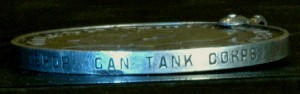 Британская военная медаль 1914-1918 годов. Гурт в выбитыми данными награждённого PTE· L· J· BISHOP· CAN TANK CORPS» (рядовой Эл. Джи. Бишоп. Канадский танковый корпус (Canadian Tank Corps)