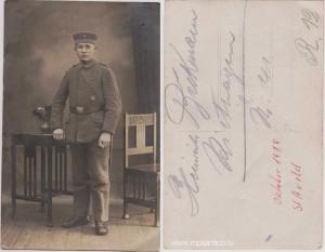 Германия. Фото немецкого солдата, награждённого Железным крестом и знаком За лёгкое ранение. 1918