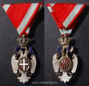 Королевство Сербия, Королевство Югославия. Знак ордена Белого орла V степени (серб. Орден белог орла). Период 1914-1941 годов. Фирма-изготовитель «Arthus Bertrand» (Париж, Франция)