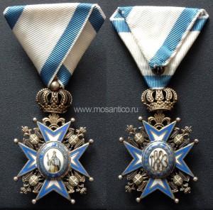 Королевство Сербия, Королевство Югославия. Знак ордена Святого Саввы (серб. Орден светог Саве) V степени. Тип 1914-1970 годов