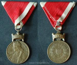 Независимое государство Хорватия. «Бронзовая» медаль короны Короля Звонимира «За заслуги», на военной ленте