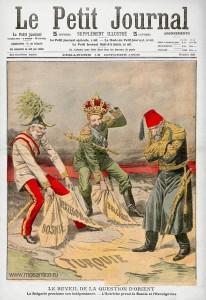 Титульный лист из французской газеты «Le Petit Journal» от 18 октября 1908 года, с каррикатурой, на которой Фердинанд I и Франц-Иосиф отрывают у турецкого султана Балканские территории