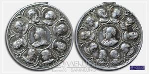Медалевидный жетон с портретом королевы Виктории и членами британского королевского дома. ~1896-1900