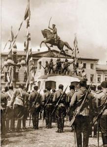 Открытие памятника М. Д. Скобелеву (скульптор Самонов П.А), на площади Скобелева (Тверская), Москва, 1912 год