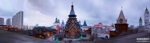 Кремль в Измайлово. Панорама с колокольни в ветренный вечер 16 апреля 2015 года. Фото Максима Алёшинского