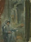 Лев Ильич Аронов (1909—1972). Эскиз к картине Рембрандт в мастерской. Художник в кресле перед холстом. 1938, Холст, масло, 22х16.5. Из собрания семьи художника
