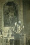 Лев Ильич Аронов (1909—1972). Согбенный мальчик Микеланджело (интерьер Эрмитажа) 1939, бумага, акварель, 50х36. Из собрания семьи художника