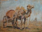 Лев Ильич Аронов (1909—1972). Калмыкия. Верблюд водовоз, 1940, картон, масло, 29.5х39. Из собрания семьи художника