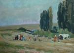 Лев Ильич Аронов (1909—1972). Калмыкия. У источника, 1940, картон, масло, 22х30.5. Из собрания семьи художника
