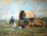Лев Ильич Аронов (1909—1972). Калмыкия. Отдых в степи, 1940, картон, масло, 25х31. Из собрания семьи художника