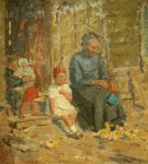 Лев Ильич Аронов (1909—1972). Жанровая сценка, 1937, картон, масло, 42х37. Из собрания семьи художника