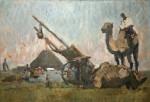 Лев Ильич Аронов (1909—1972). Калмыкия. Пейзаж с верблюдом, 1940, картон, масло, 42х59.5. Из собрания семьи художника