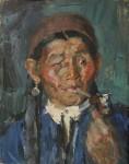 Лев Ильич Аронов (1909—1972). Калмыкия. Старуха с трубкой, 1940, картон, масло, 25.5х20. Из собрания семьи художника