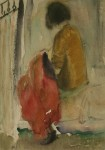 Лев Ильич Аронов (1909—1972). За шитьем 1933, бумага, акварель, 27.5.20. Из собрания семьи художника