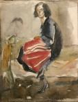 Лев Ильич Аронов (1909—1972). Портрет жены, 1933 бумага, акварель, 27х20. Из собрания семьи художника