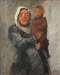 Михаил Владимирович Добросердов (1906—1986). Киргизка с ребенком. 1936. 40х33. Оргалит масло. Из собрания семьи художника