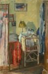 Лев Ильич Аронов (1909—1972). Интерьер, 1938, Холст, масло, 42х28.5. Из собрания семьи художника