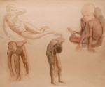 Арон Иосифович Ржезников (1898—1943). Наброски обнаженных мальчиков. 1928. Бумага, акварель. 48,5х59. Из собрания Ю.М. Носова