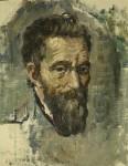 Лев Ильич Аронов (1909—1972). Микеланджело, 1940, Холст, масло, 32х25. Из собрания семьи художника