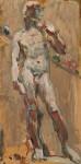 Лев Ильич Аронов (1909—1972). Этюд со скульптуры Микеланджело Давид, 1940. 33х16. Картон, масло. Из собрания семьи художника