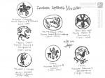 Символы древней Москвы с печатей и монет. Михаил Тренихин, бумага, гелевая ручка, 2014