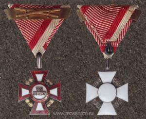 Крест военных заслуг 3-й степени (Militärverdienstkreuz 3. Klasse) с военным украшением (венок введён 12 января 1860), мечами (введены 13 декабря 1916) и планкой повторного награждения (введена в 1 августа 1917 г.). 1917—1918